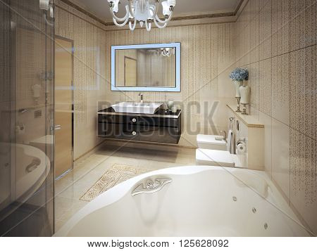 Expensive bathroom modern style with glass shower and jacuzzi. 3d render