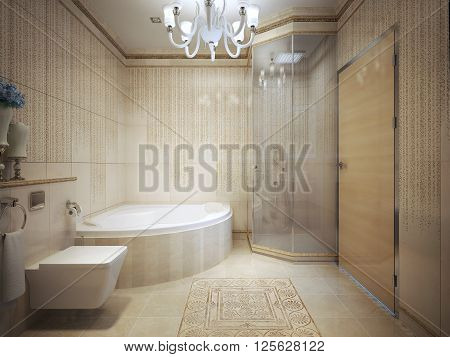 Expensive bathroom with jacuzzi, marble tiled walls. 3d render