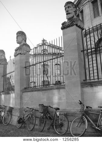 Oxford, Gate, Bikes And Pillars