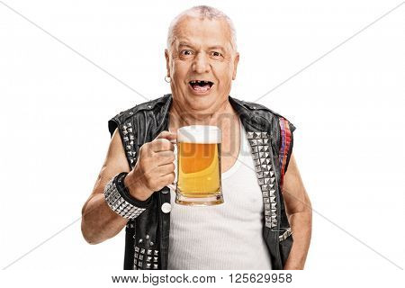 Crazy mature punk rocker holding a pint of beer and looking at the camera isolated on white background