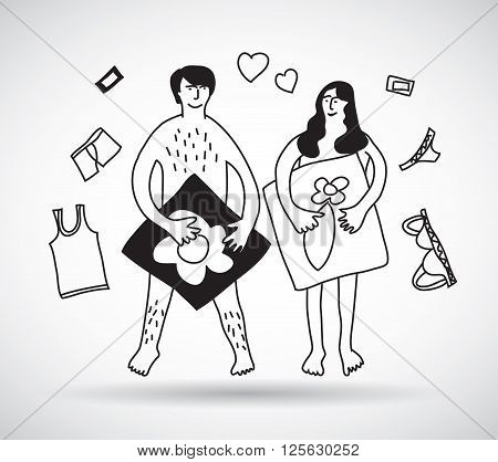 Man and woman couple naked sex relations black and white. Monochrome vector illustration. EPS10
