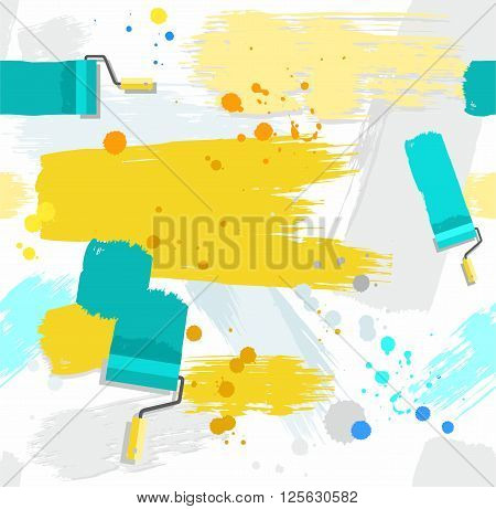 Spots and stripes of paint on a white background. Traces of paint roller and brushes, blots and drops. Vector seamless background. Color, flat.