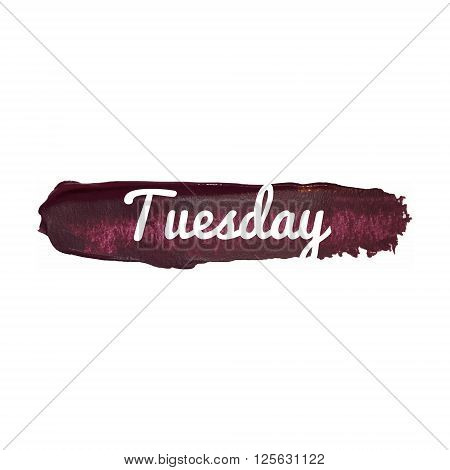 Tuesday, Day Of The Week. Weekend Vector Word Hand Drawn Illustration Icon Card Isolated Quote