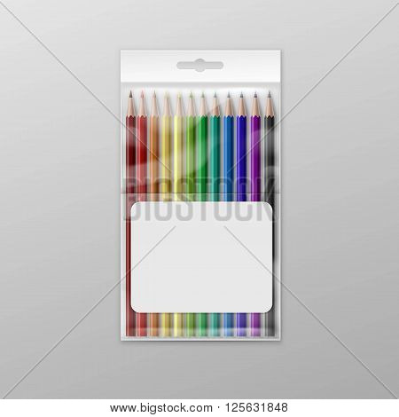 Box of Colored Pencils Isolated on Background