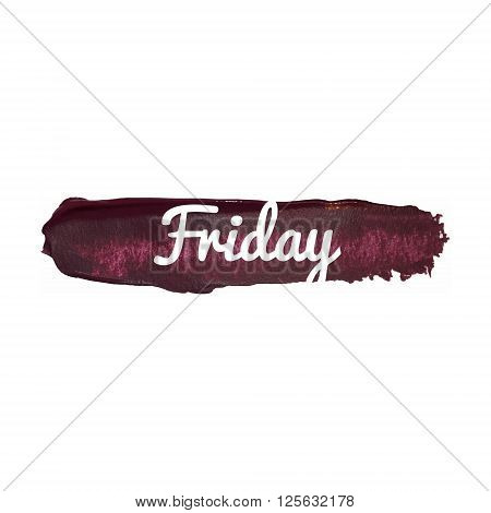Friday, Day Of The Week. Weekend Vector Word Hand Drawn Illustration Icon Card Isolated Quote