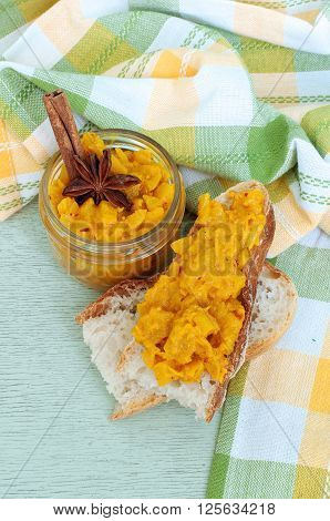 Apple Chutney On A Light Green Wood Background