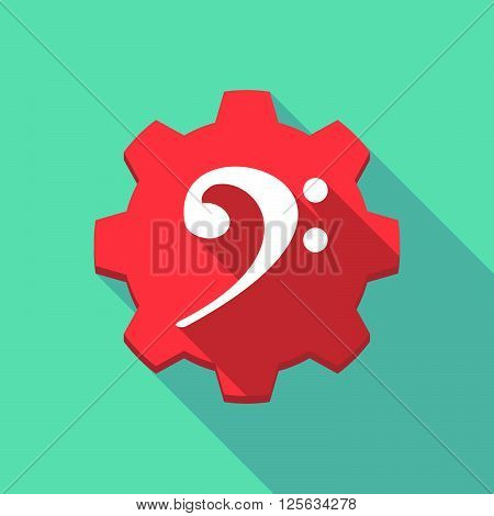 Long Shadow Gear Icon With An F Clef