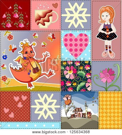 Childish seamless patchwork pattern with fairy dragon, princess and castle. Colorful patches with teacup, flowers and hearts. Cute vector illustration of quilting.