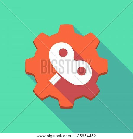 Long Shadow Gear Icon With A Toy Crank