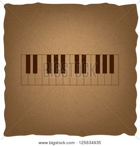 Piano Keyboard  sign. Coffee style on old paper.