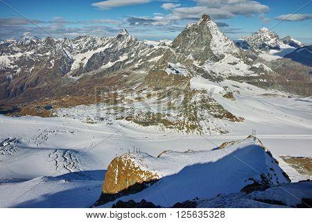 Amazing view of mount Matterhorn, Canton of Valais, Alps, Switzerland
