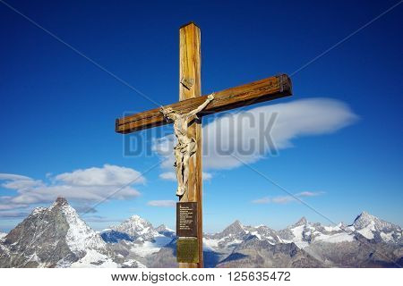 Crucifixion on matterhorn glacier paradise near Matterhorn Peak, Alps, Switzerland