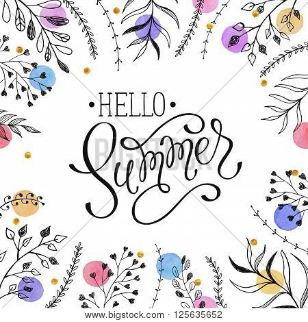 Floral frame with Hello Summer text. Romantic template for greeting cards and invitation. Summer time wording with doodle leaves and watercolor dots on white background.