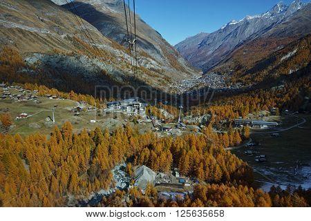 Amazing Autumn Landscape to Zermatt, Canton of Valais, Switzerland