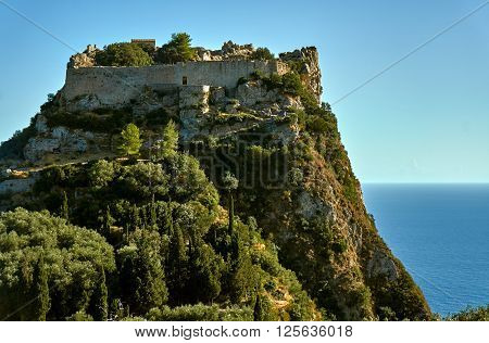medieval castle on rock at Corfu island Greece