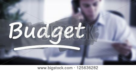 Word budget underlined against businessman calling the author of a letter