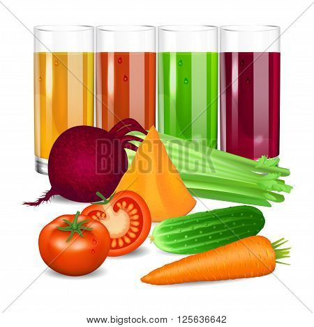 Vegetable juices. Cucumber tomato carrot pumpkin beets and celery. Natural vegetable drink healthy organic food. Realistic vector illustration