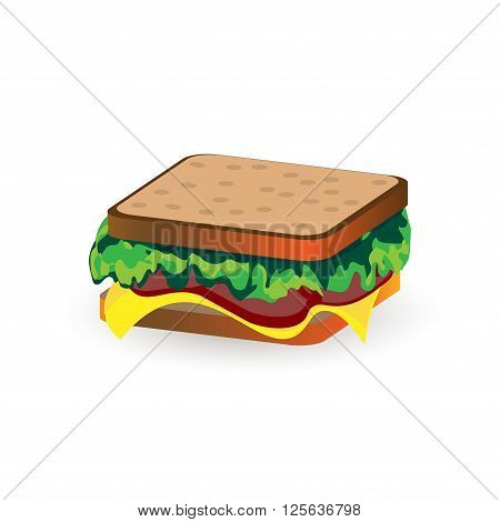 Ham and vegetable sandwich illustration isolated on white