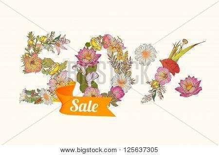 50 (fifty) percents sale. Vector floral digits