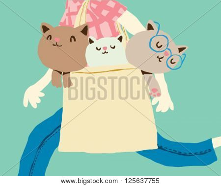 Woman walking with kittens in a bag - style vector illustration isolated on light blue background - Sign