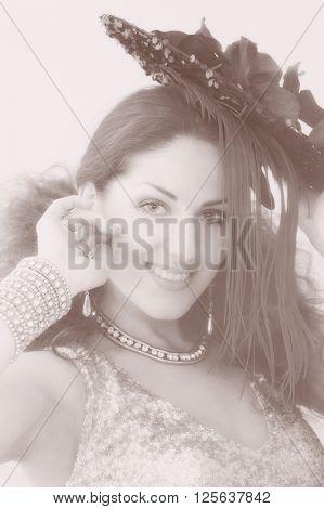 portrait of girl in exotic costumes. indoor shot