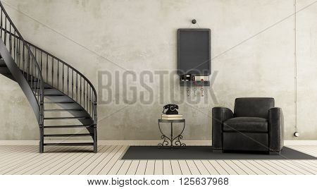 Vintage Room With Staircase
