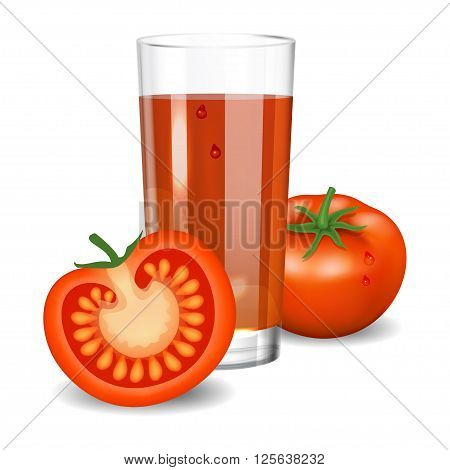 Tomato juice. Red tomato juice in glass. Natural vegetable drink healthy organic food. Realistic vector illustration