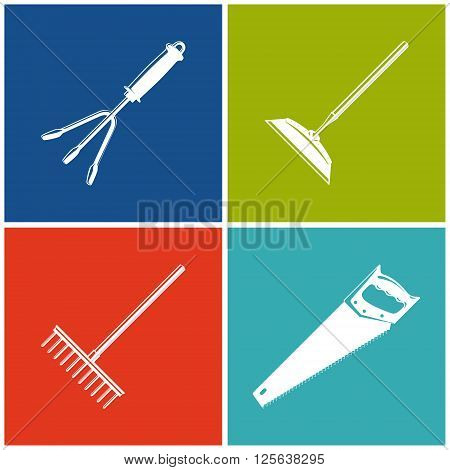 Set of Colored Farming  Icons , Garden and Landscaping Tools , Icon Hand Rake , Icon Draw Hoe , Icon Bow Rake , Icon Rip Saw , Garden Equipment , Agricultural Tool  , Vector Illustration