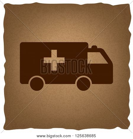 Ambulance sign. Coffee style on old paper.