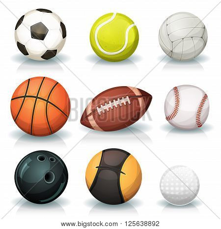 Illustration of a set of classic popular sports balls and bowls equipment for football soccer rugby tennis volleyball basketball baseball gulf medicine ball for fitness and bowling