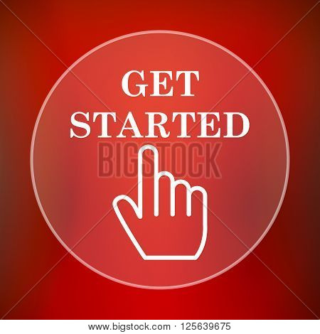 Get started icon. White translucent internet button on red background.