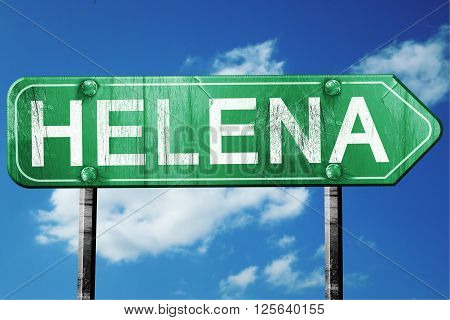 helena road sign on a blue sky background