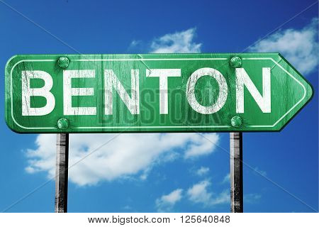 benton road sign on a blue sky background