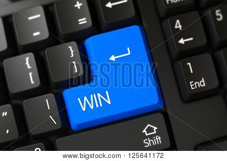 Modernized Keyboard with the words Win on Blue Key. Modern Laptop Keyboard with Hot Keypad for Win. Win Concept: Modernized Keyboard with Win on Blue Enter Key Background, Selected Focus. 3D Render.