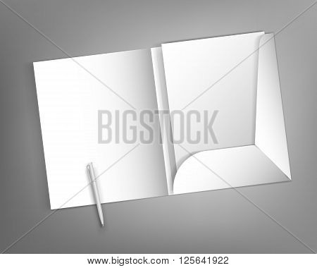 Collection of corporate identity presentation templates mock up with folder and pen blank letterhead. Ready for your design on gray background.
