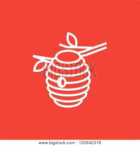 Bee hive line icon.
