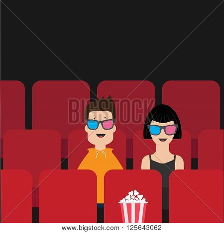 Love couple sitting in movie theater. Film show Cinema background. Viewers watching movie in 3D glasses. Popcorn box on red seat. Flat design Vector illustration