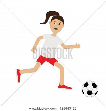 Funny cartoon running girl with soccer ball. Football player. Cute run woman Runner Fitness workout running female character Isolated White background. Flat design Vector illustration