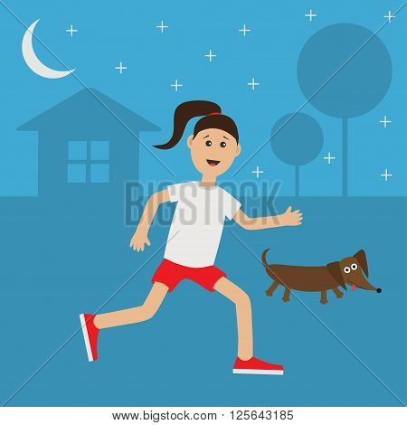 Running girl Dachshund dog. Cute run woman Night summer time. House tree silhouette. Stars shining. Jogging lady Runner Fitness outside workout running female character Flat Vector illustration