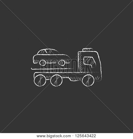 Car towing truck. Drawn in chalk icon.