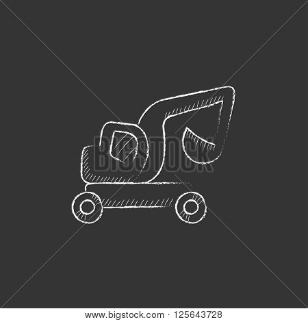 Excavator truck. Drawn in chalk icon.