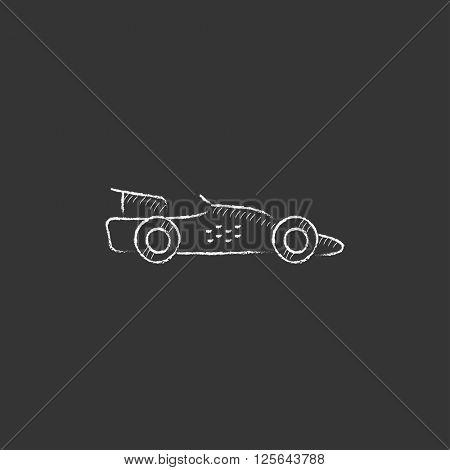 Race car. Drawn in chalk icon.