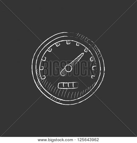 Speedometer. Drawn in chalk icon.