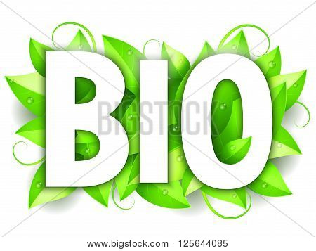 White Bio word on fresh green leaves