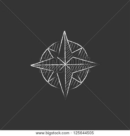 Compass wind rose. Drawn in chalk icon.