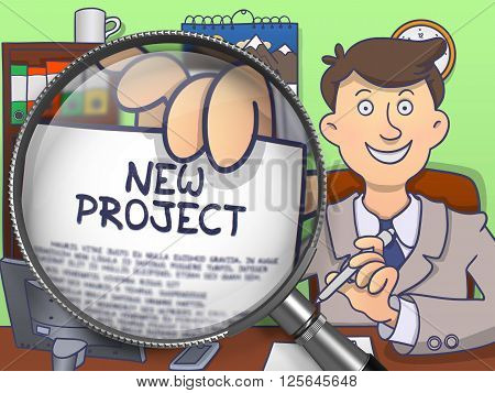 Businessman Offering New Project. Closeup View through Magnifier. Colored Doodle Illustration.