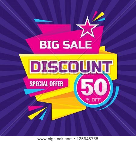 Discount 50 % off - advertising vector banner in origami retro style. Big sale vector layout. Special offer concept sticker.