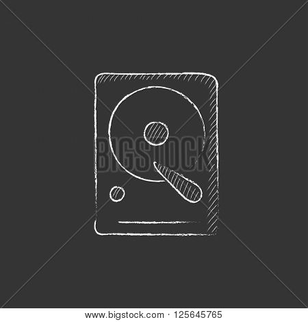 Hard disk. Drawn in chalk icon.