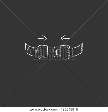 Seat belt. Drawn in chalk icon.