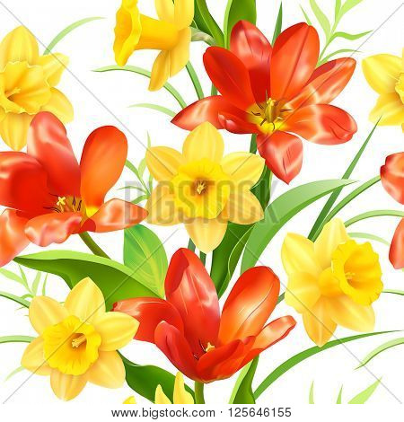 Seamless pattern with tulips and daffodils. Vector illustration.